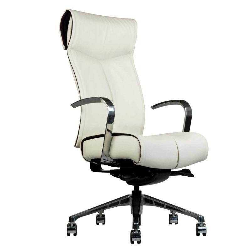 Bürostuhl Test weißer Chefsessel Leder