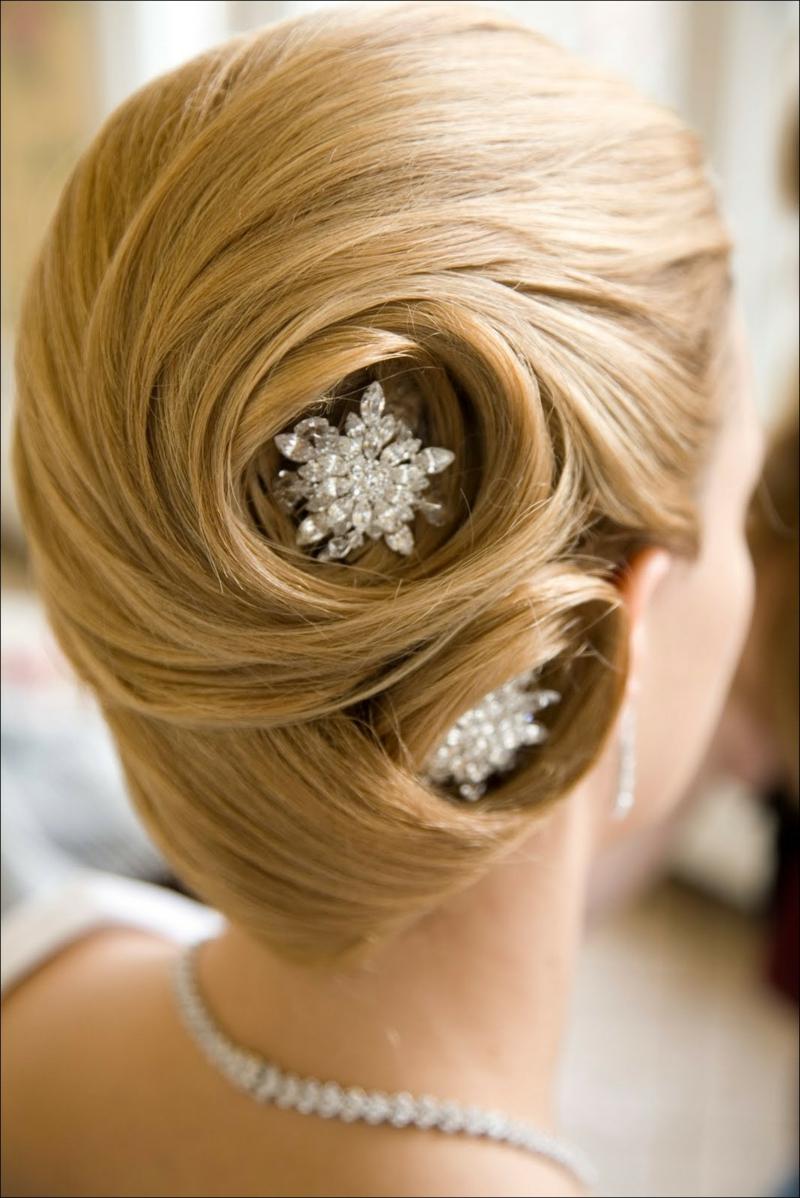 Brautfrisur Dutt Haarschmuck Hochzeit Ideen