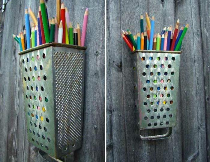 upcycling ideen kuechenutensilien aus alt macht neu Coole Bastelideen DIY bastelideen alte küchenkram reibe stiftehalter