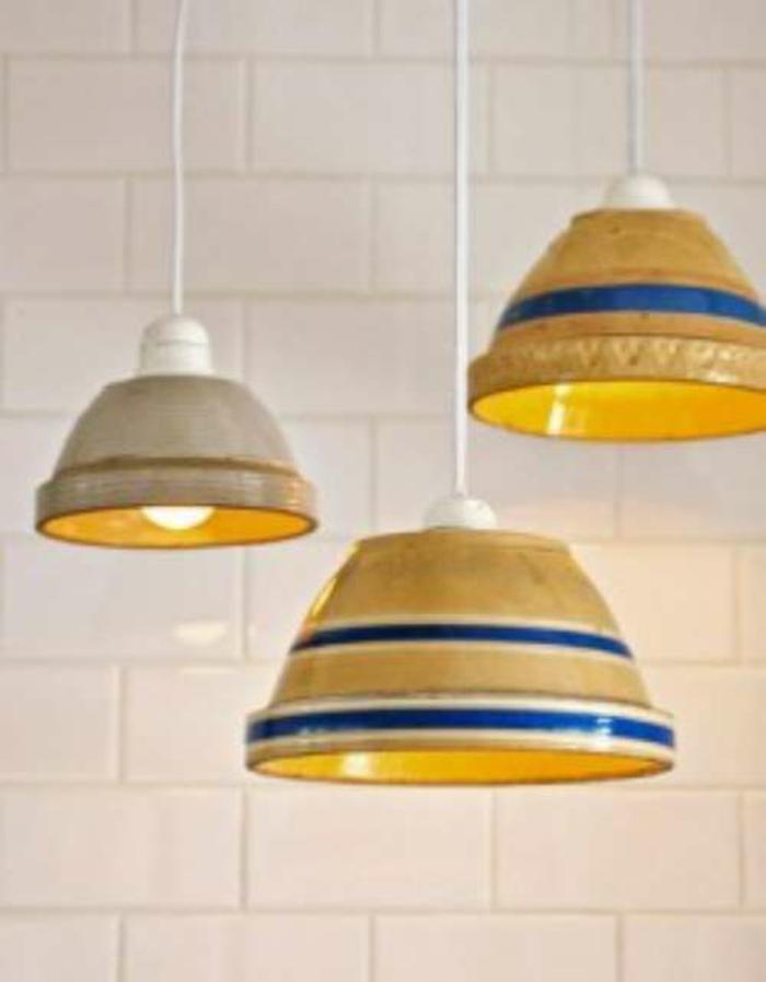 upcycling ideen kuechenutensilien aus alt macht neu Bastelideen DIY bastelideen küchenkrams übertopf als lampenschirm
