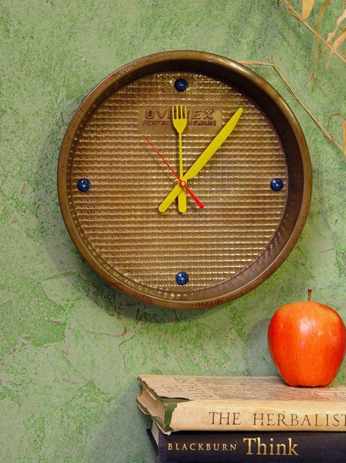 upcycling ideen kuechenutensilien aus alt macht neu Bastelideen DIY bastelideen alte küchenkrams backblech als uhr
