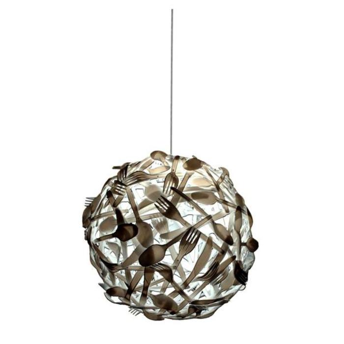 upcycling ideen kuechenutensilien aus alt macht neu Bastelideen DIY bastelideen alte küchenkrams besteck als lampenschirm