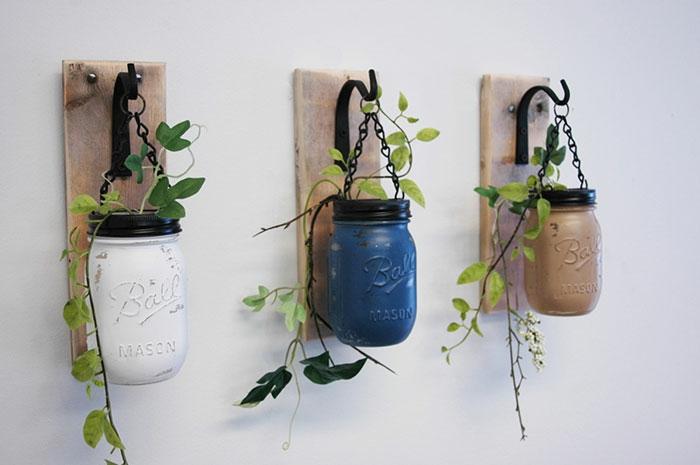 upcycling ideen kuechenutensilien aus alt macht neu Coole Bastelideen DIY bastelideen küchenkrams einmachglas blumentopf