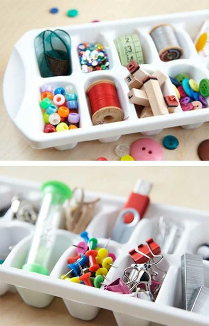 upcycling ideen kuechenutensilien aus alt macht neu Coole Bastelideen DIY bastelideen alte küchenkrams eisförmchen als kurzwaren ablage