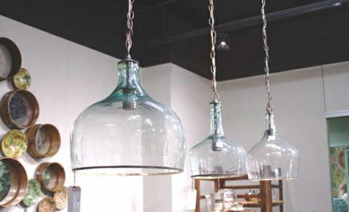 upcycling ideen kuechenutensilien aus alt macht neu coole Bastelideen DIY bastelideen alte küchenkrams glasflaschen gro lampenschirm