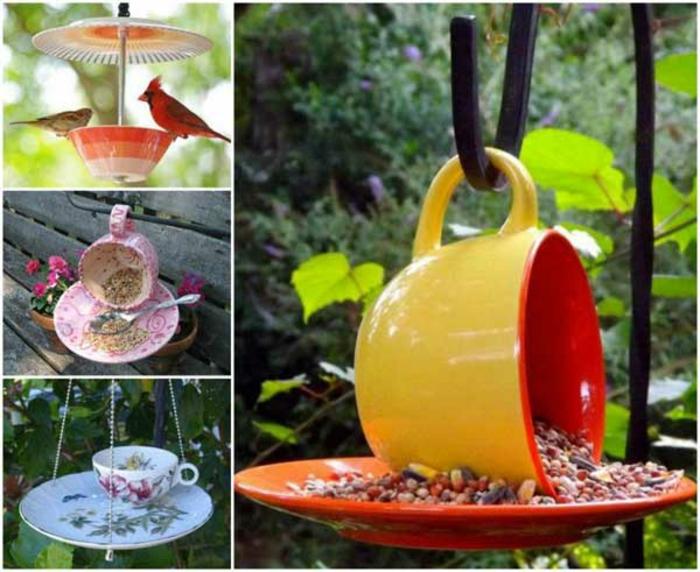 upcycling ideen kuechenutensilien aus alt macht neu Coole Bastelideen DIY bastelideen alte küchenkrams kaffetasse vogelhaus