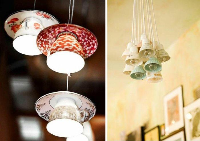 upcycling ideen kuechenutensilien aus alt macht neu Bastelideen DIY bastelideen alte küchenkrams kaffetassten leuchten