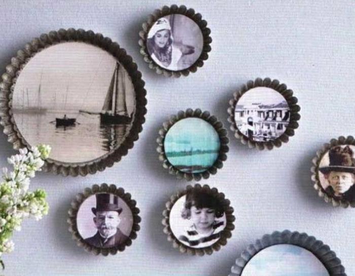 upcycling ideen kuechenutensilien aus alt macht neu Bastelideen DIY bastelideen alte küchenkrams kuchenform als bilderrahmen