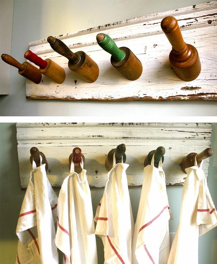 upcycling ideen kuechenutensilien aus alt macht neu Coole Bastelideen DIY bastelideen alte küchenkrams nudelholz2