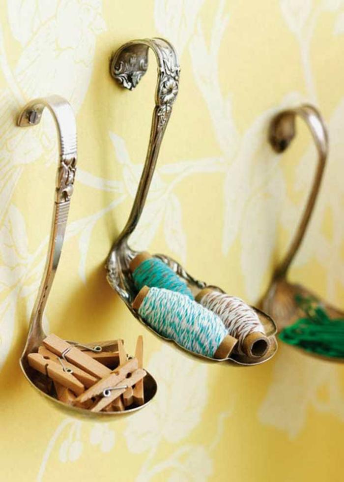 upcycling ideen kuechenutensilien aus alt macht neu Bastelideen DIY bastelideen alte küchenkrams schoepfkele abstellplatz