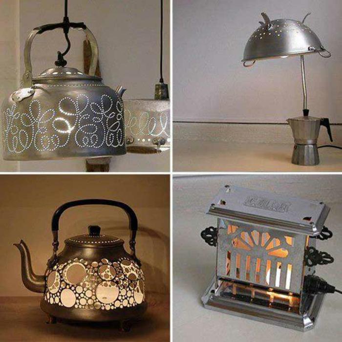upcycling ideen kuechenutensilien aus alt macht neu Bastelideen DIY bastelideen alte küchenkrams teekessel zu lampe