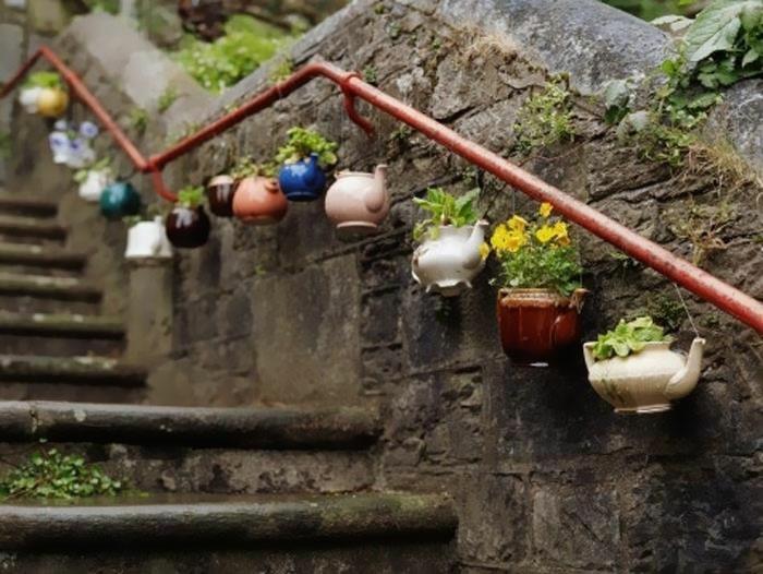 upcycling ideen kuechenutensilien aus alt macht neu Coole Bastelideen DIY treppe
