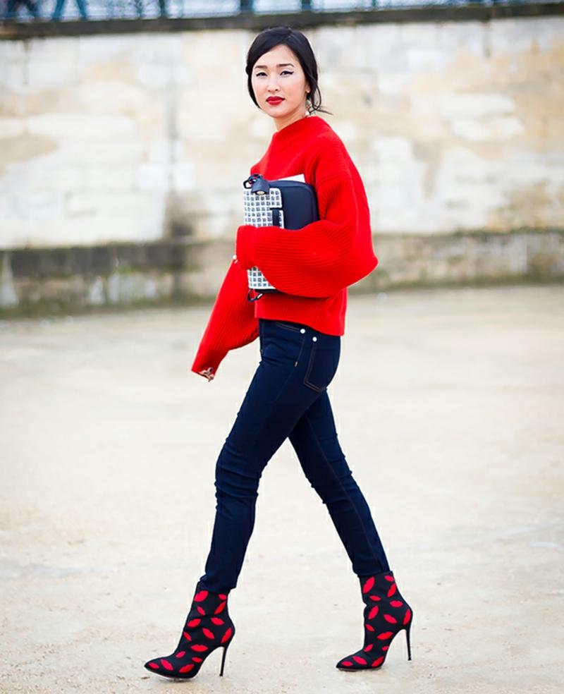 Damen Pullover knallrot jeans absatzschuhe