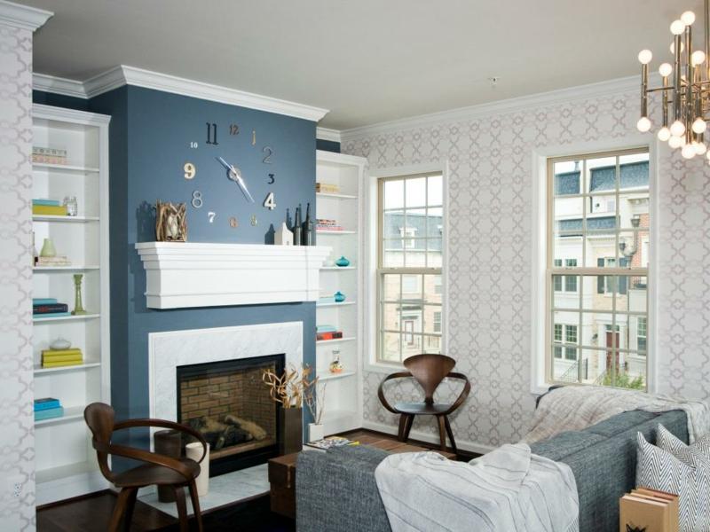 wohnzimmer deko blau:Einrichtungsideen Wohnzimmer Farbgestaltung Kamin Deko Wandfarbe Blau
