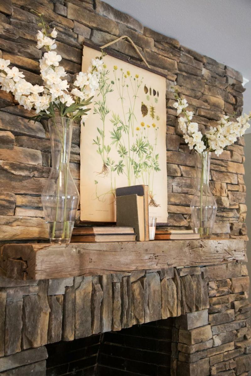 Einrichtungsideen Wohnzimmer Steinwand Wandgestaltung Kamin Deko