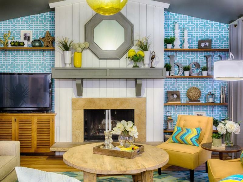Einrichtungsideen Wohnzimmer Wandgestaltung Kamin Deko Ideen
