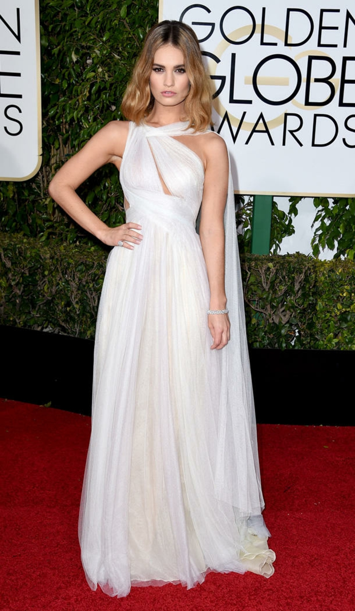 Golden Globes 2016 Abendkleider lang lily james