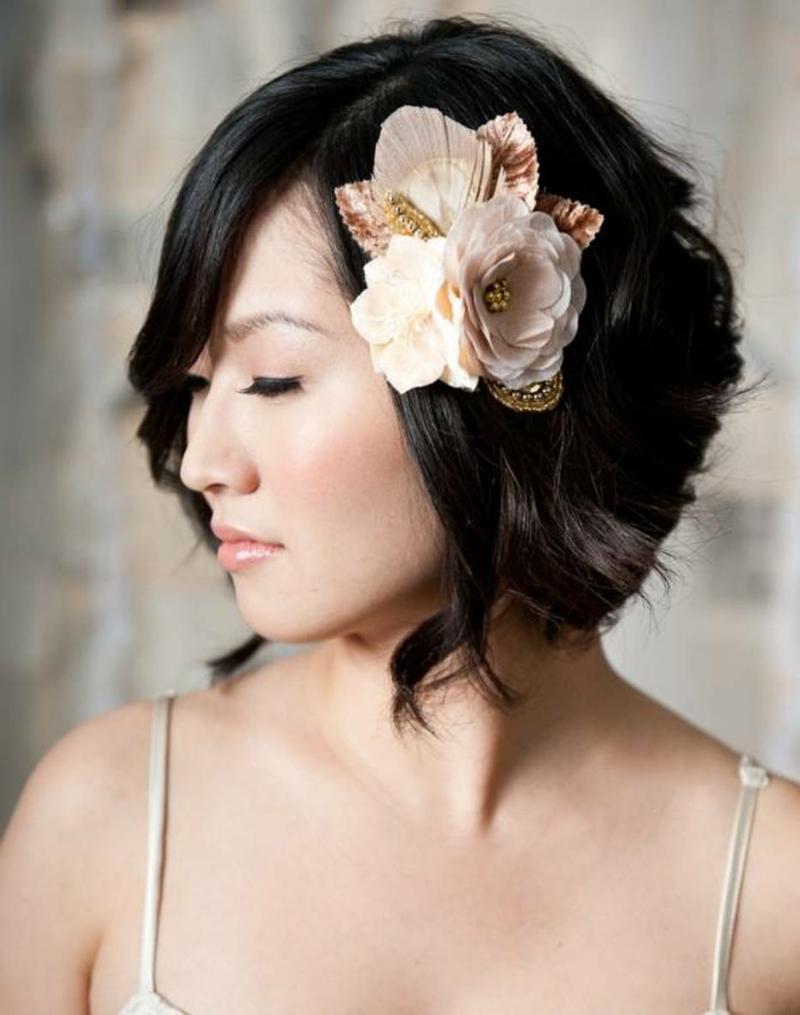 Hochzeit Haarschmuck Blumen Hochzeitsfrisuren kurze Haare