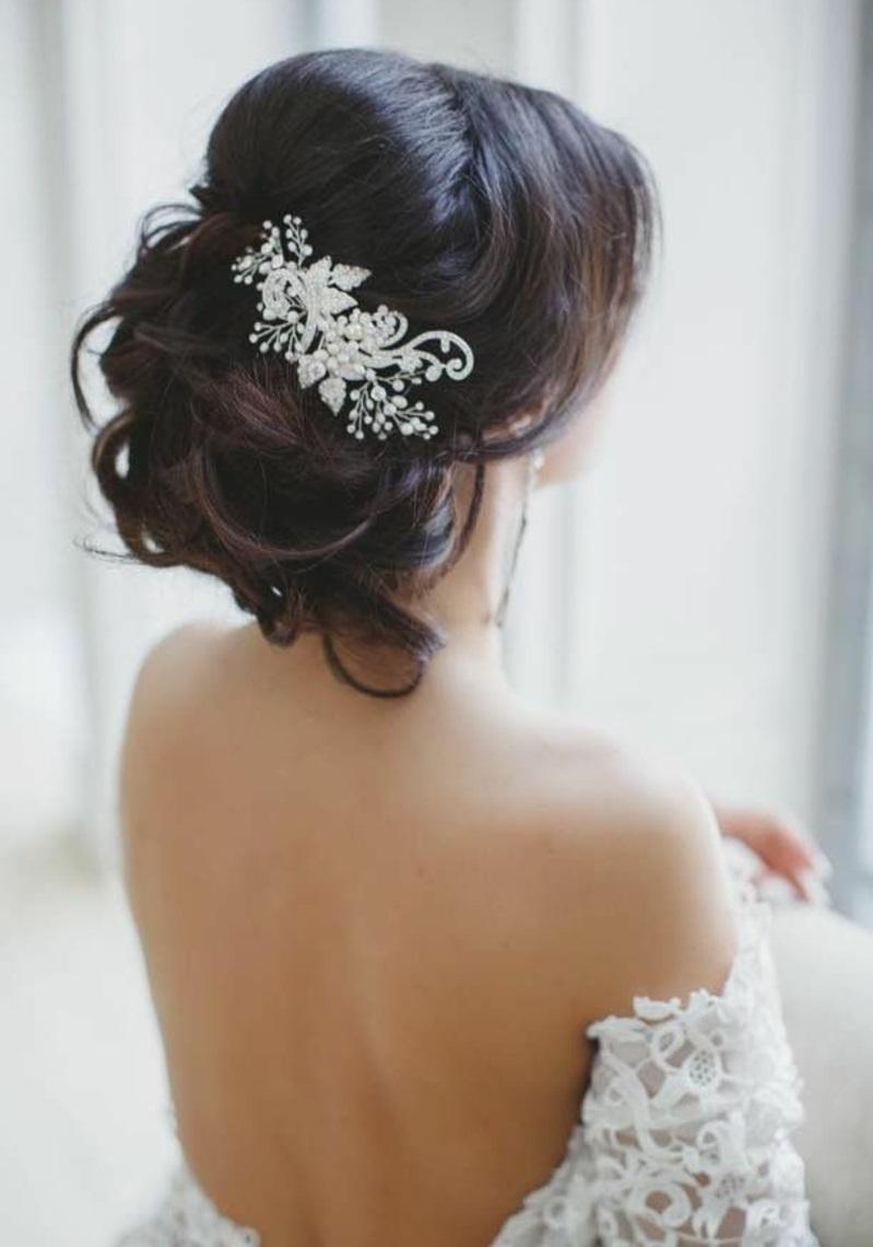 Hochzeitsfrisuren lange Haare Haarschmuck für Hochzeit
