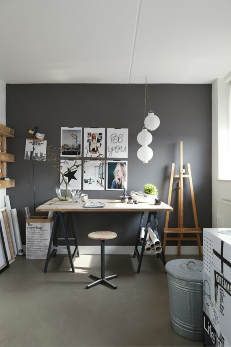 Home Office Wandfarbe Grau klassische Büromöbel