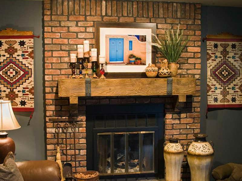 Kaminsims Deko Bricksteinwand Einrichtungsidee Wohnzimmer