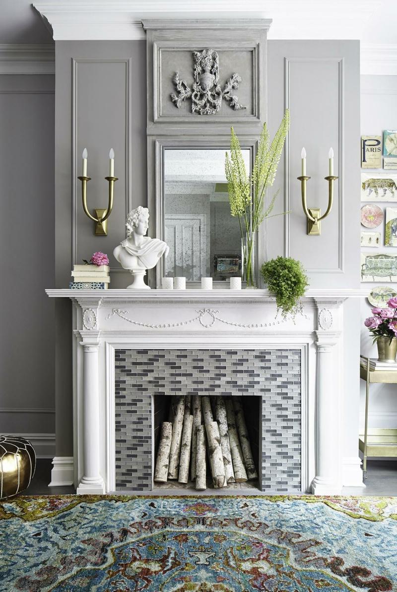 Kaminsims Deko Ideen Wohnzimmer Wandgestaltung Grau