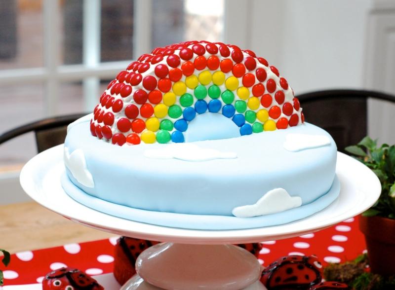 Kindertorte Geburtstagstorten Bilder Tortendeko Wolken Regenbogen Birthday Cake For  Years Old Girl