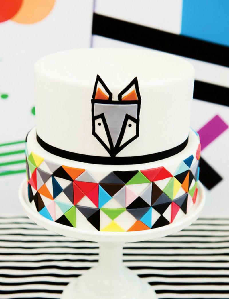 Kindertorte Geburtstagstorten Bilder Tortendeko geometrisches Muster bunt