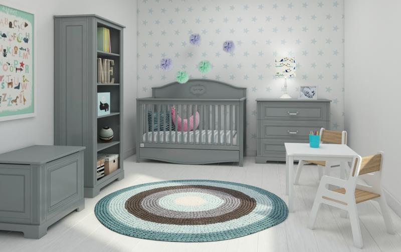 Kinderzimmereinrichtung Kindermöbel komplett Set grau