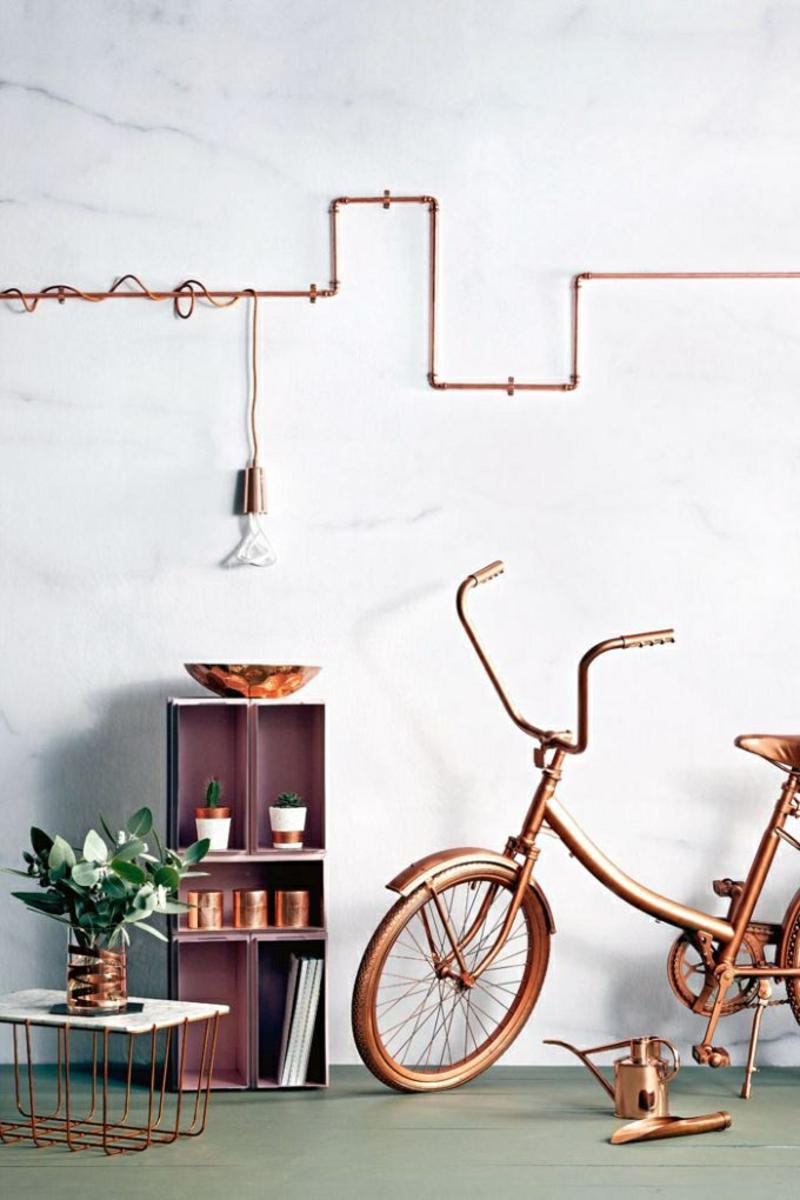 Kreative Einrichtungsideen DIY Deko Ideen Fahrrad Kupfer Farbe