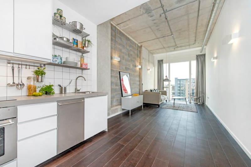 Kreative Einrichtungsideen Küche einrichten Holz Bodenbelag Einrichtungsbeispiele
