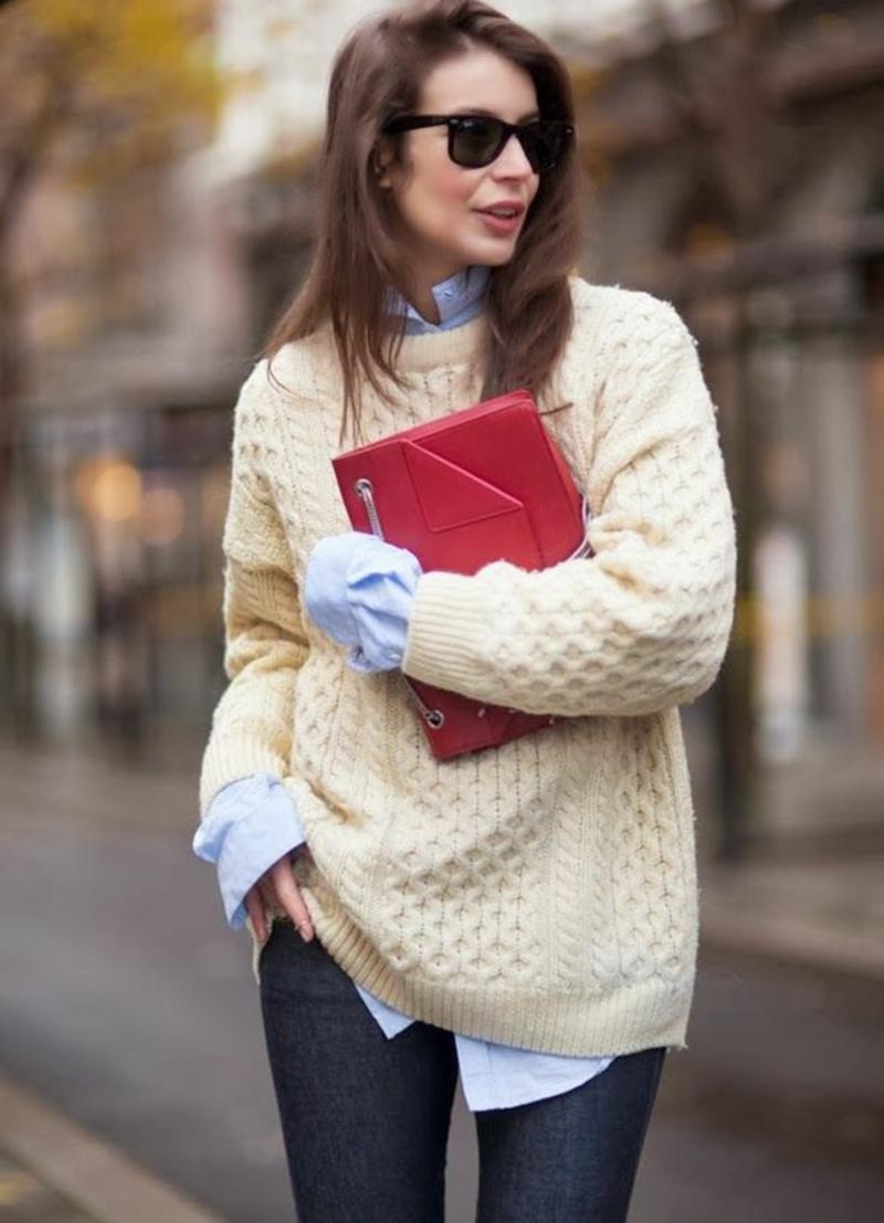 Longpullover Damen Hemd Kombination