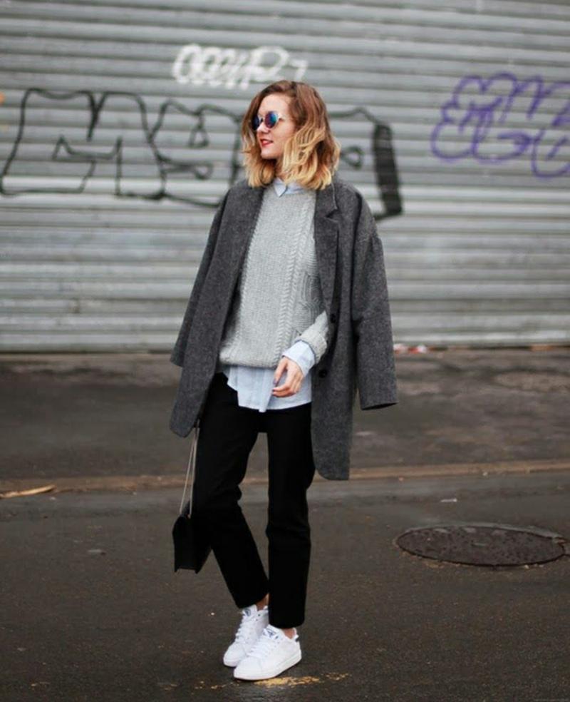 Longpullover Damen Straßenmode Blogger