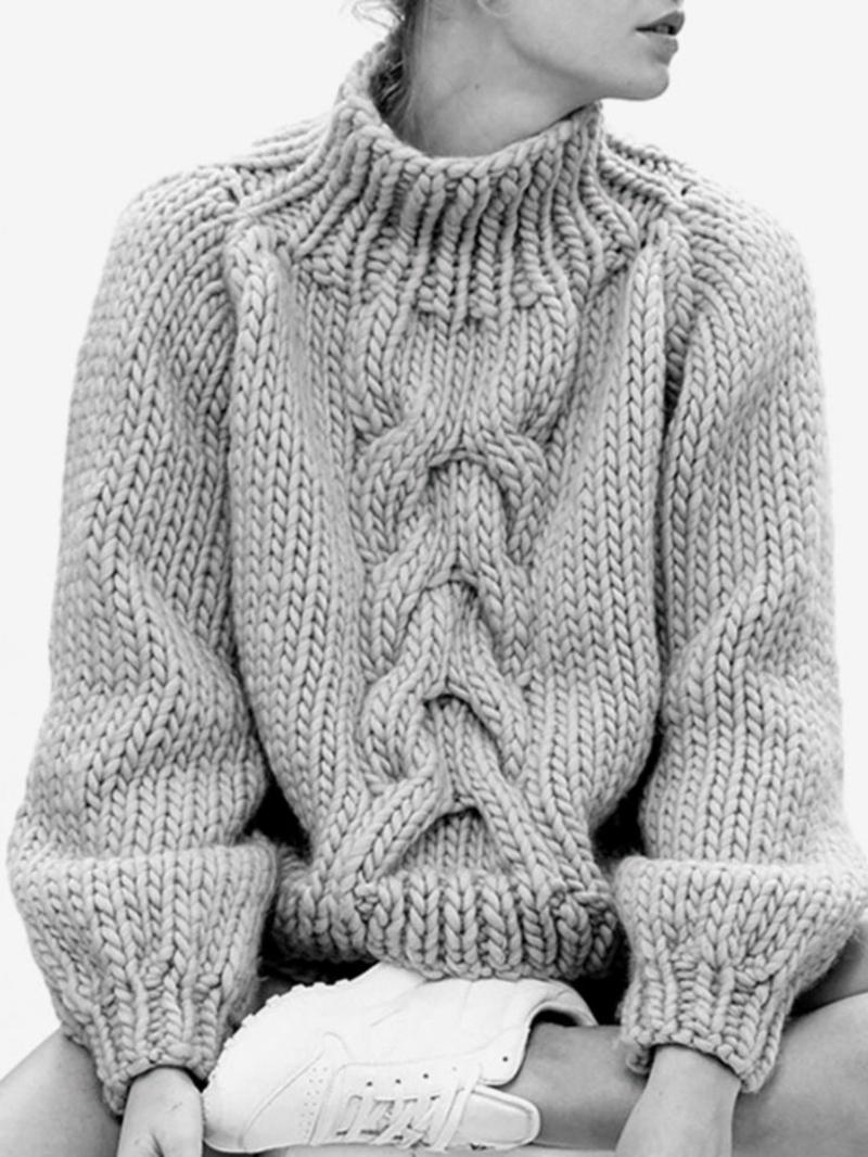 Longpullover Damen Strick Rollkragenpullover