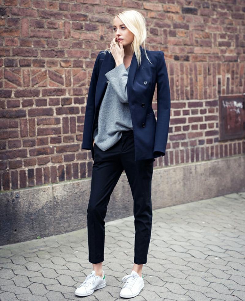 Longpullover Damen oversize Blazer dunkelblau