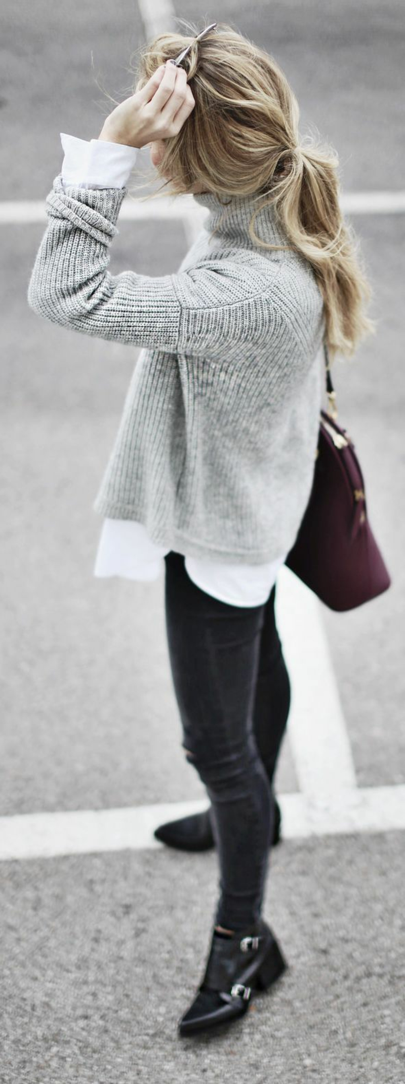 so kann man einen schicken longpullover tragen 60 outfits. Black Bedroom Furniture Sets. Home Design Ideas