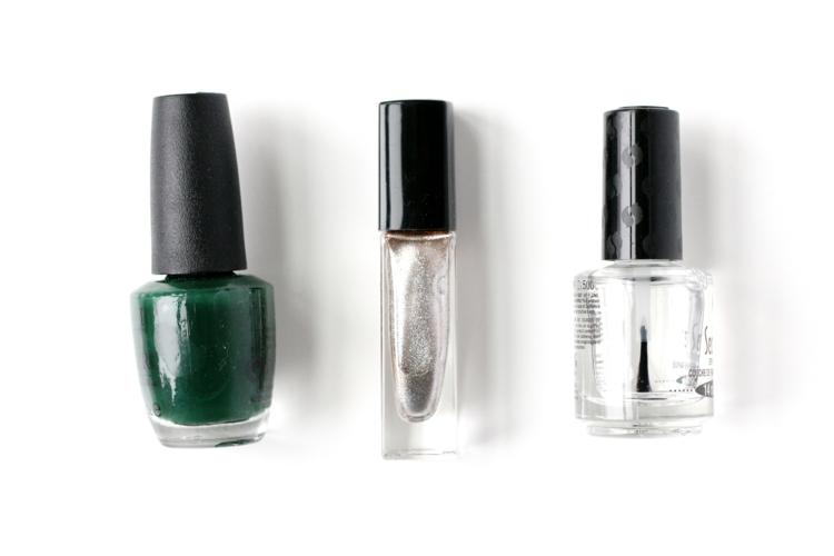 Maniküre selber machen Nagellackfarbe grün