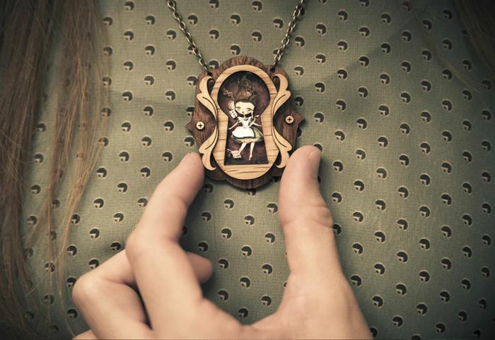 Modeschmuck Ketten maerchenmotive laliblue schwan halskette kettenanhänger alice im wunderland