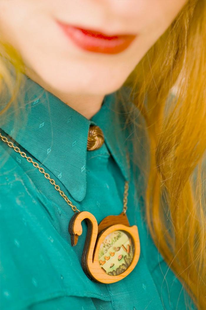 Modeschmuck Ketten maerchenmotive laliblue schwan halskette kettenanhänger schwan