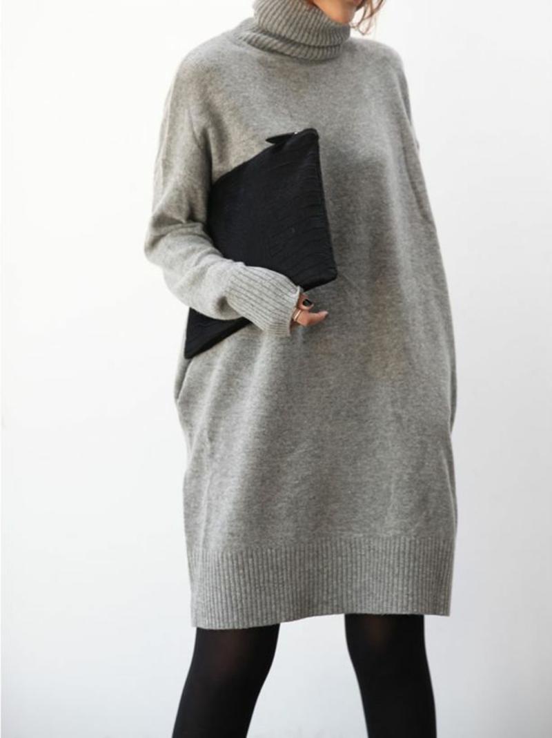 Rollkragenpullover Damen Grau wintermode Ideen