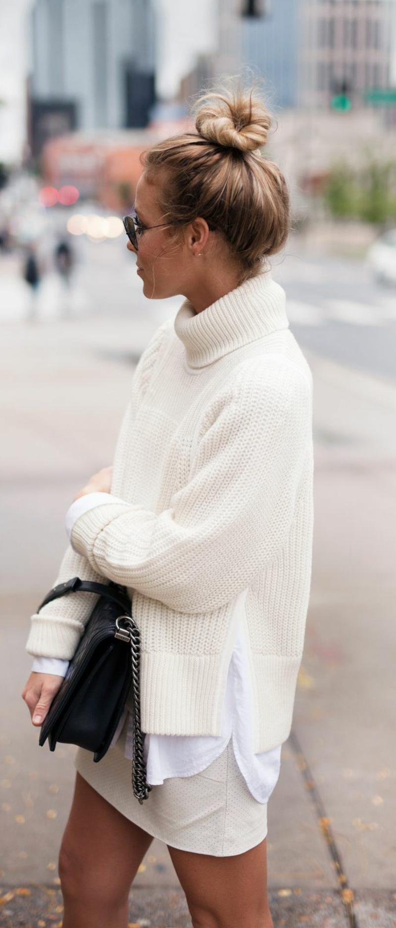 Rollkragenpullover Damen weiß Hemd Minirock casual Style
