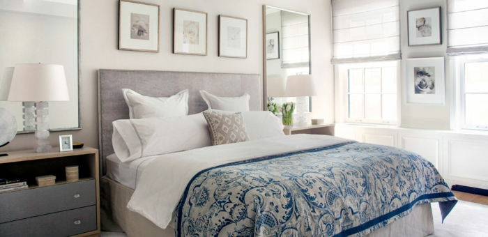 Schlafzimmergestaltung Ideen Polsterbett Bettkopf Grau Wandspiegel