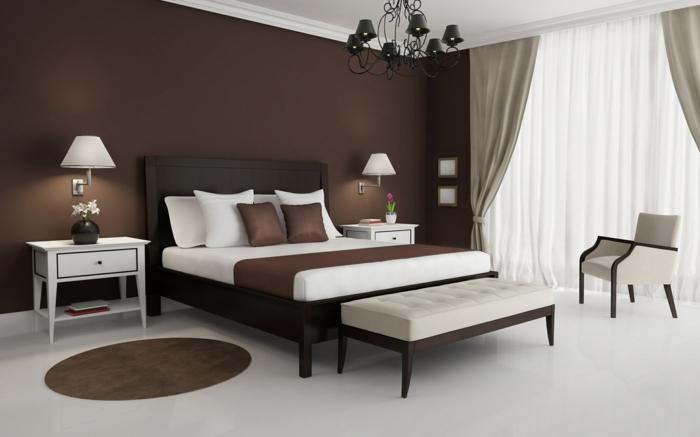 Schlafzimmergestaltung Ideen Wandfarbe braun Akzentwand