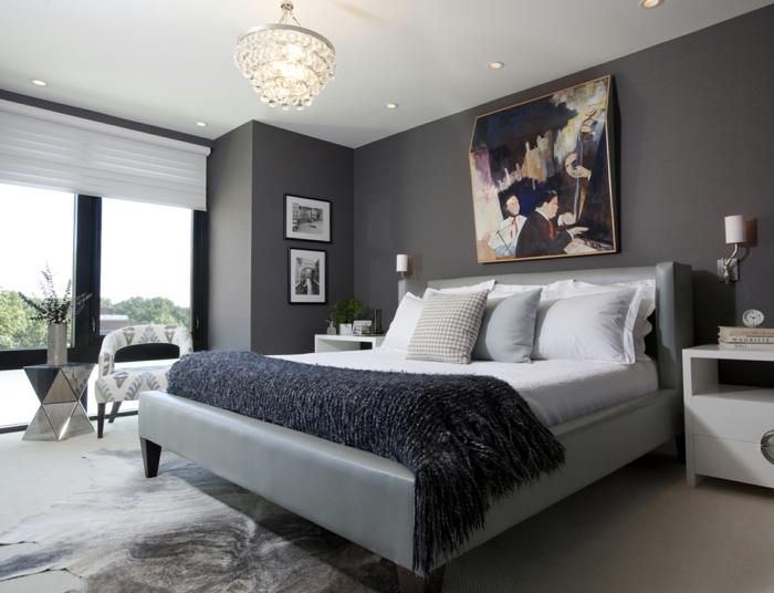 Schlafzimmergestaltung Ideen Wandfarbe grau Wandgemälde