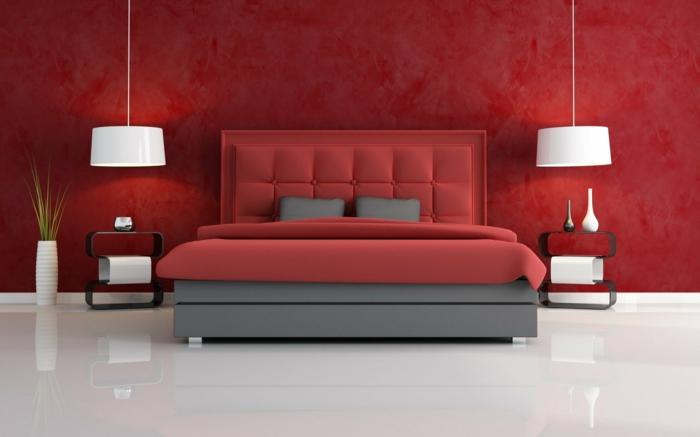 Schlafzimmergestaltung Ideen Wandfarbe rot Hängeleuchten