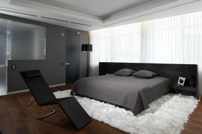 Schlafzimmergestaltung Wandfarbe grau Teppich