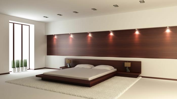 Schlafzimmergestaltung Wandleuchten Holzpaneel