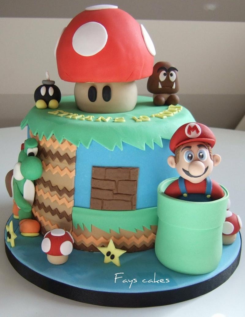 Super Mario Tortendeko Geburtstagskuchen Bilder Kindergeburtstagstorten