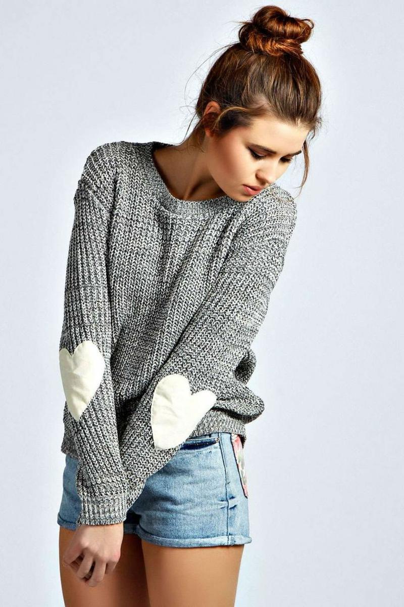 Sweatshirt Damen grau mit Herzen