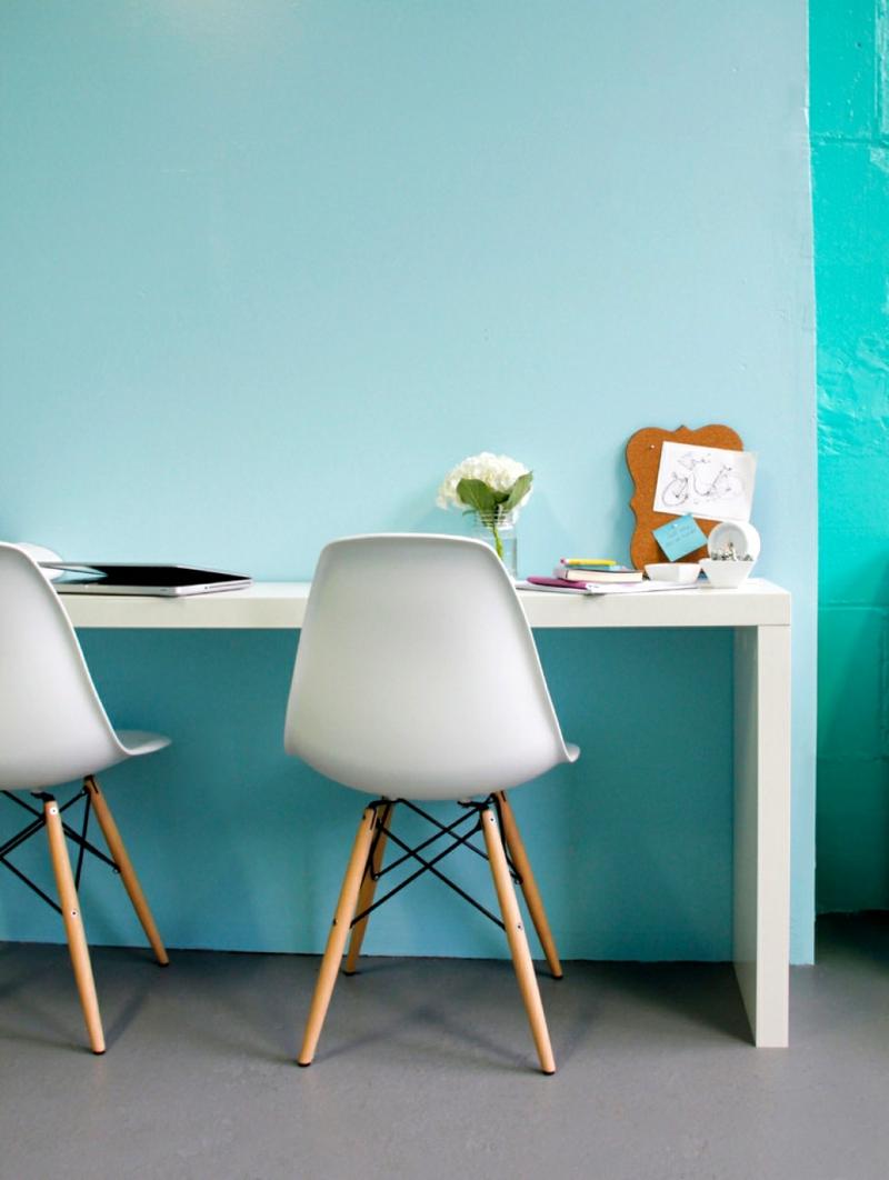 Wandfarbe Türkisblau Arbeitszimme Home Office Wandfarben kombinieren